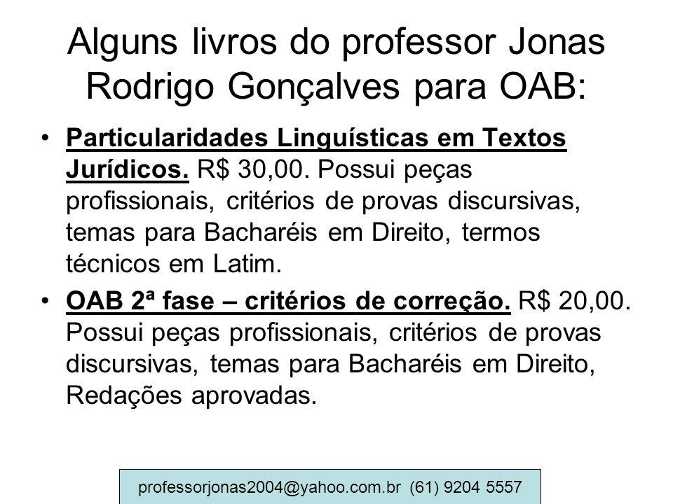 Alguns livros do professor Jonas Rodrigo Gonçalves para OAB: