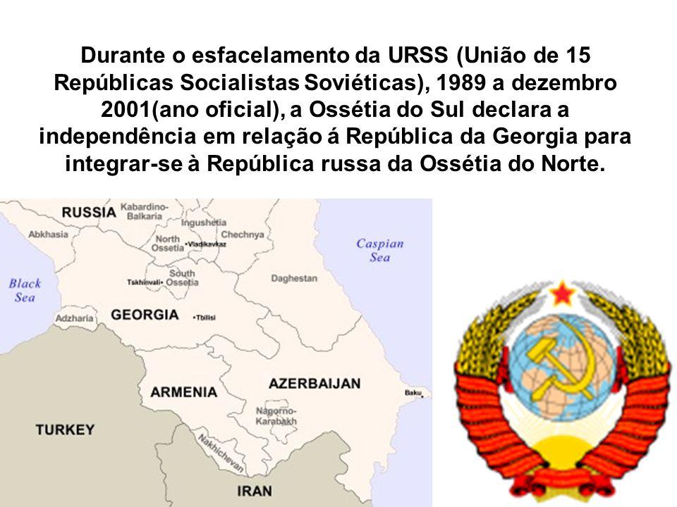 Durante o esfacelamento da URSS (União de 15 Repúblicas Socialistas Soviéticas), 1989 a dezembro 2001(ano oficial), a Ossétia do Sul declara a independência em relação á República da Georgia para integrar-se à República russa da Ossétia do Norte.
