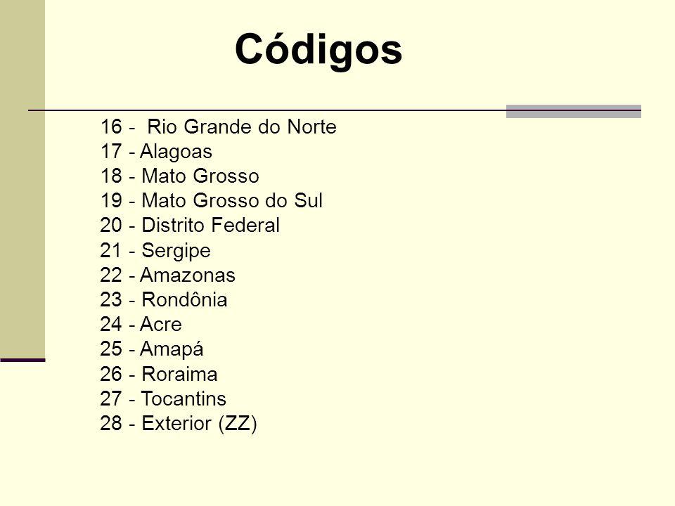 Códigos 16 - Rio Grande do Norte 17 - Alagoas 18 - Mato Grosso