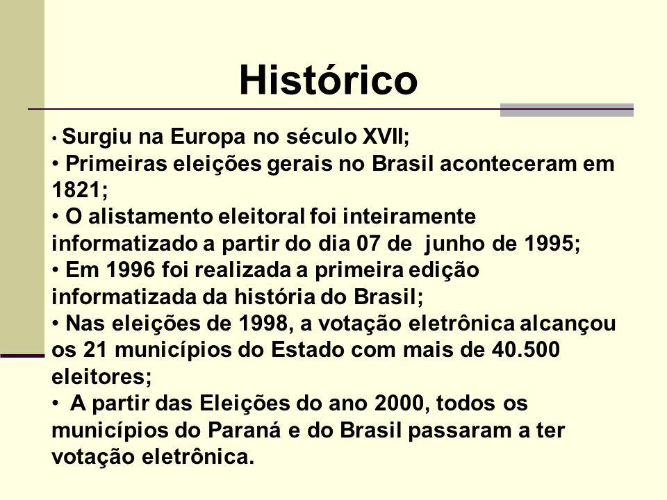 Histórico Primeiras eleições gerais no Brasil aconteceram em 1821;