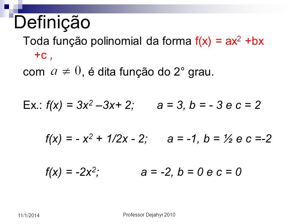 Definição Toda função polinomial da forma f(x) = ax2 +bx +c ,
