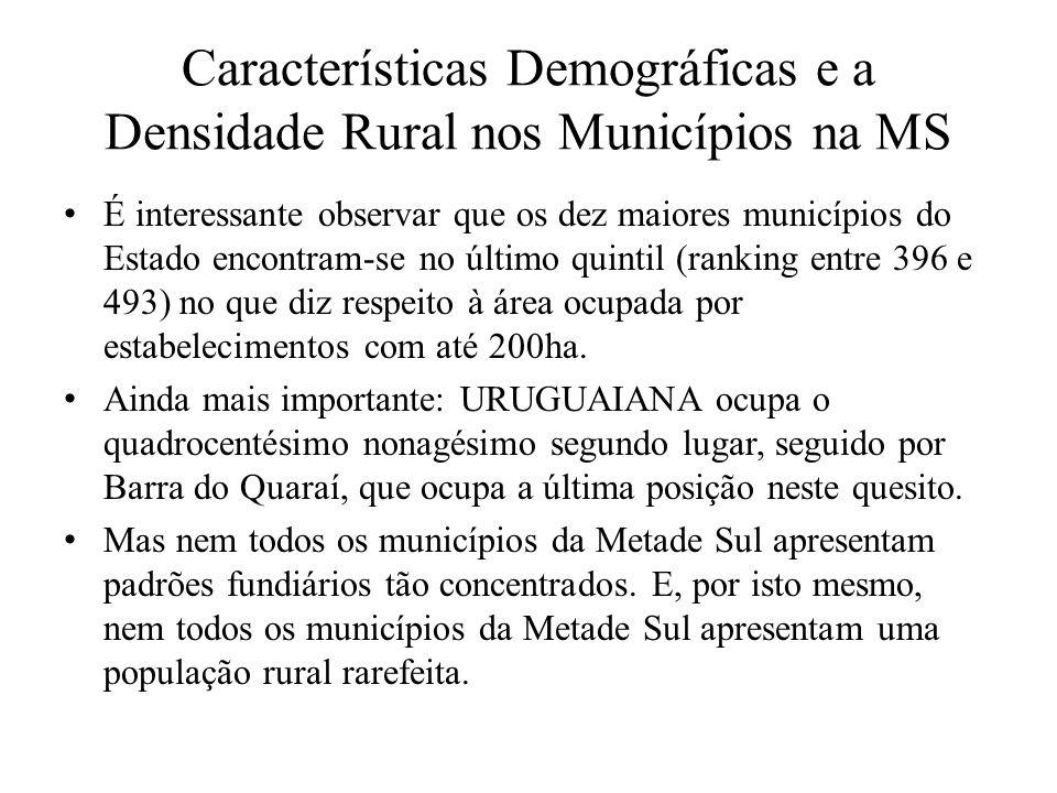 Características Demográficas e a Densidade Rural nos Municípios na MS