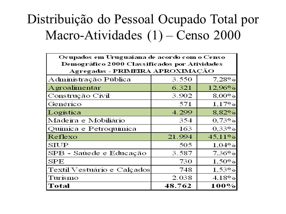 Distribuição do Pessoal Ocupado Total por Macro-Atividades (1) – Censo 2000