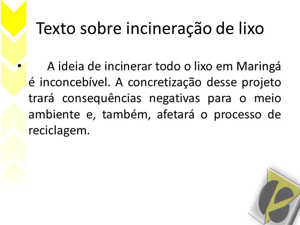 Texto sobre incineração de lixo