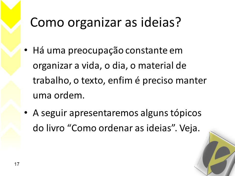 Como organizar as ideias