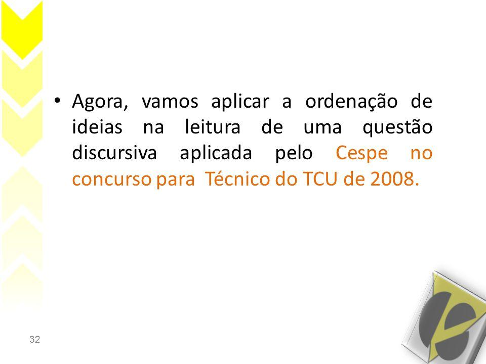 Agora, vamos aplicar a ordenação de ideias na leitura de uma questão discursiva aplicada pelo Cespe no concurso para Técnico do TCU de 2008.