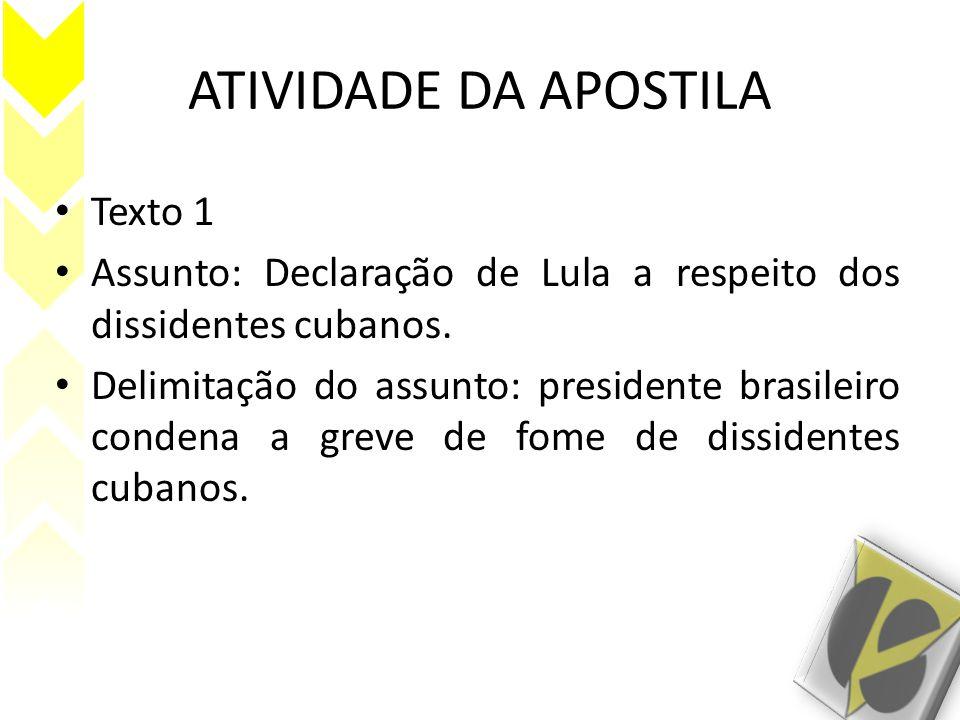 ATIVIDADE DA APOSTILA Texto 1