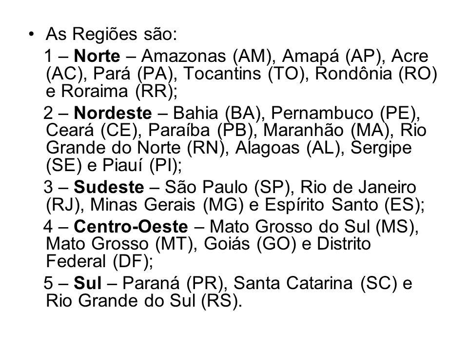 As Regiões são:1 – Norte – Amazonas (AM), Amapá (AP), Acre (AC), Pará (PA), Tocantins (TO), Rondônia (RO) e Roraima (RR);