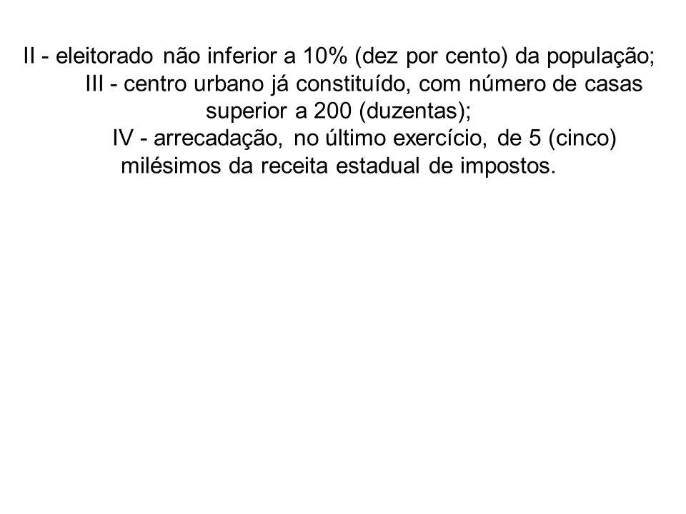 II - eleitorado não inferior a 10% (dez por cento) da população;