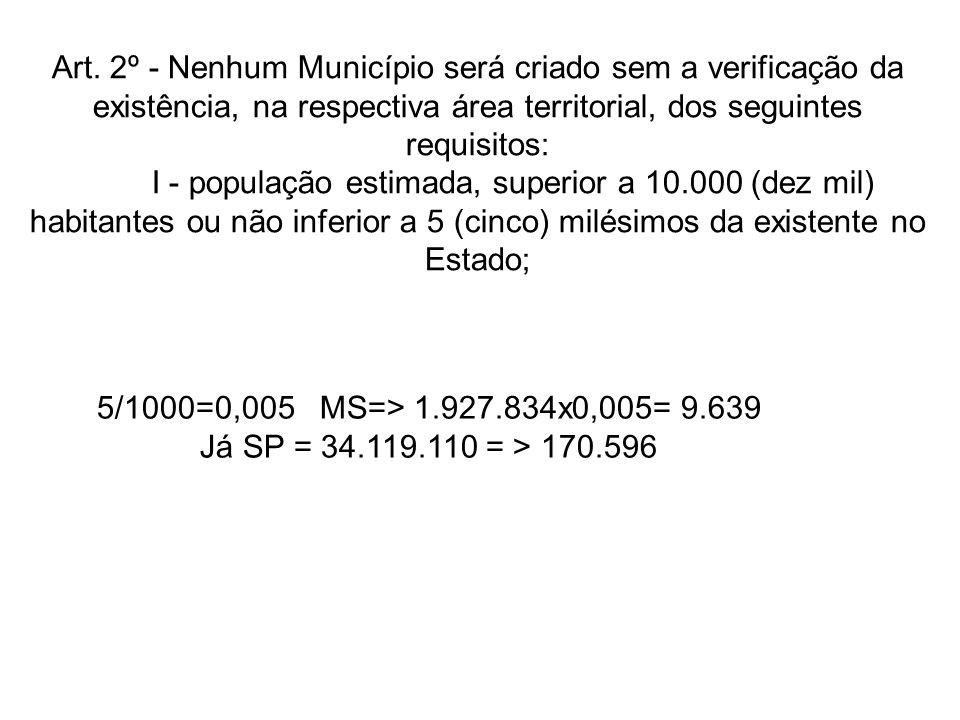 Art. 2º - Nenhum Município será criado sem a verificação da existência, na respectiva área territorial, dos seguintes requisitos: