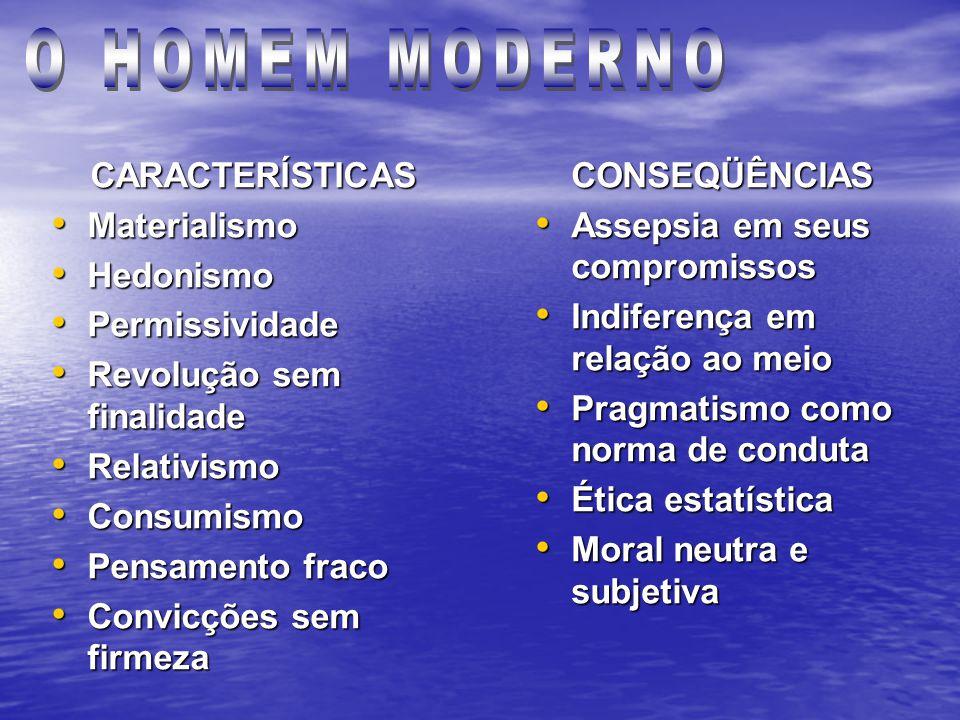 O HOMEM MODERNO CARACTERÍSTICAS Materialismo Hedonismo Permissividade