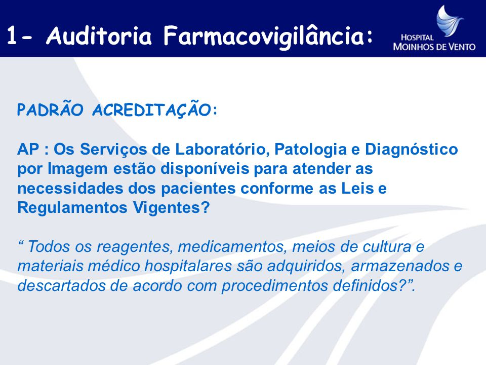 1- Auditoria Farmacovigilância: