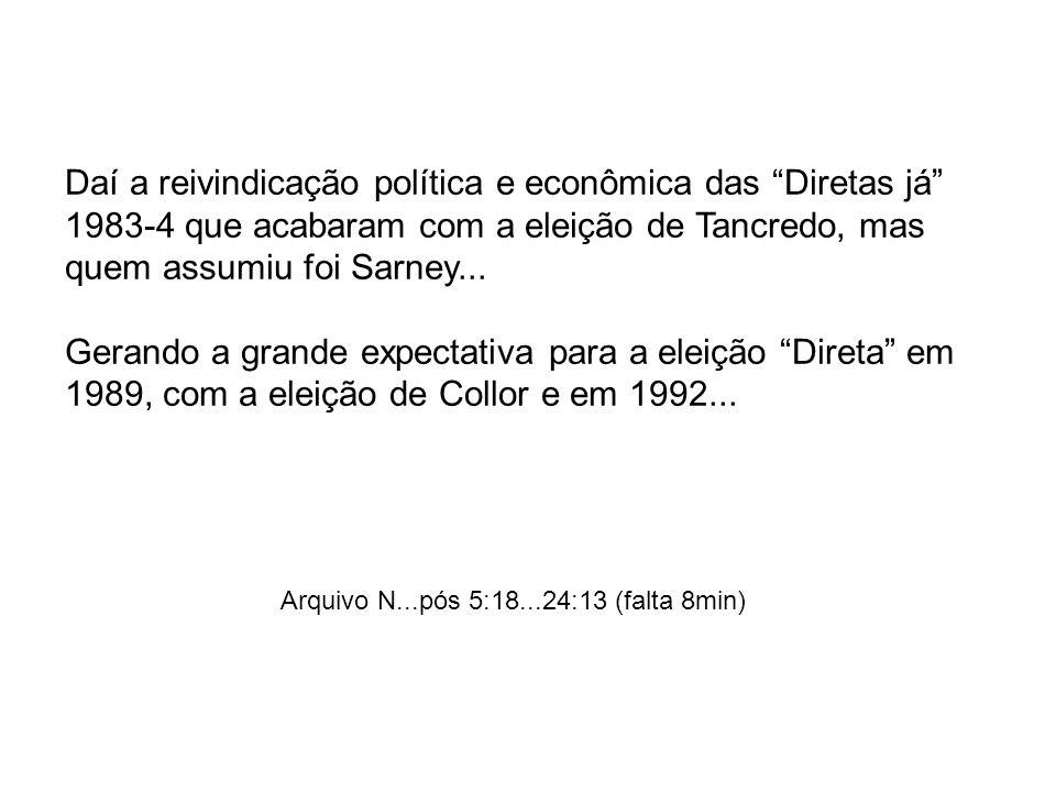 Daí a reivindicação política e econômica das Diretas já 1983-4 que acabaram com a eleição de Tancredo, mas quem assumiu foi Sarney...