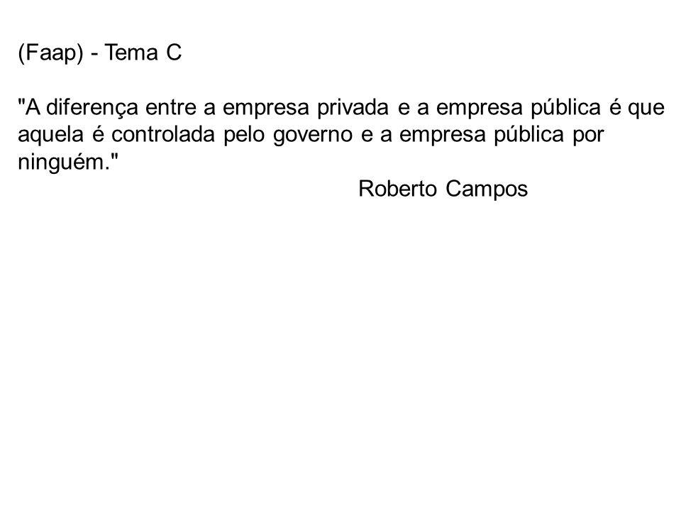 (Faap) - Tema C A diferença entre a empresa privada e a empresa pública é que aquela é controlada pelo governo e a empresa pública por ninguém.