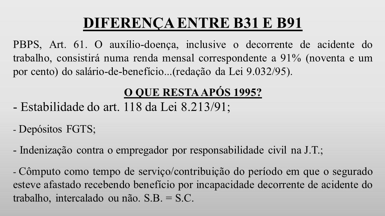 DIFERENÇA ENTRE B31 E B91 - Estabilidade do art. 118 da Lei 8.213/91;