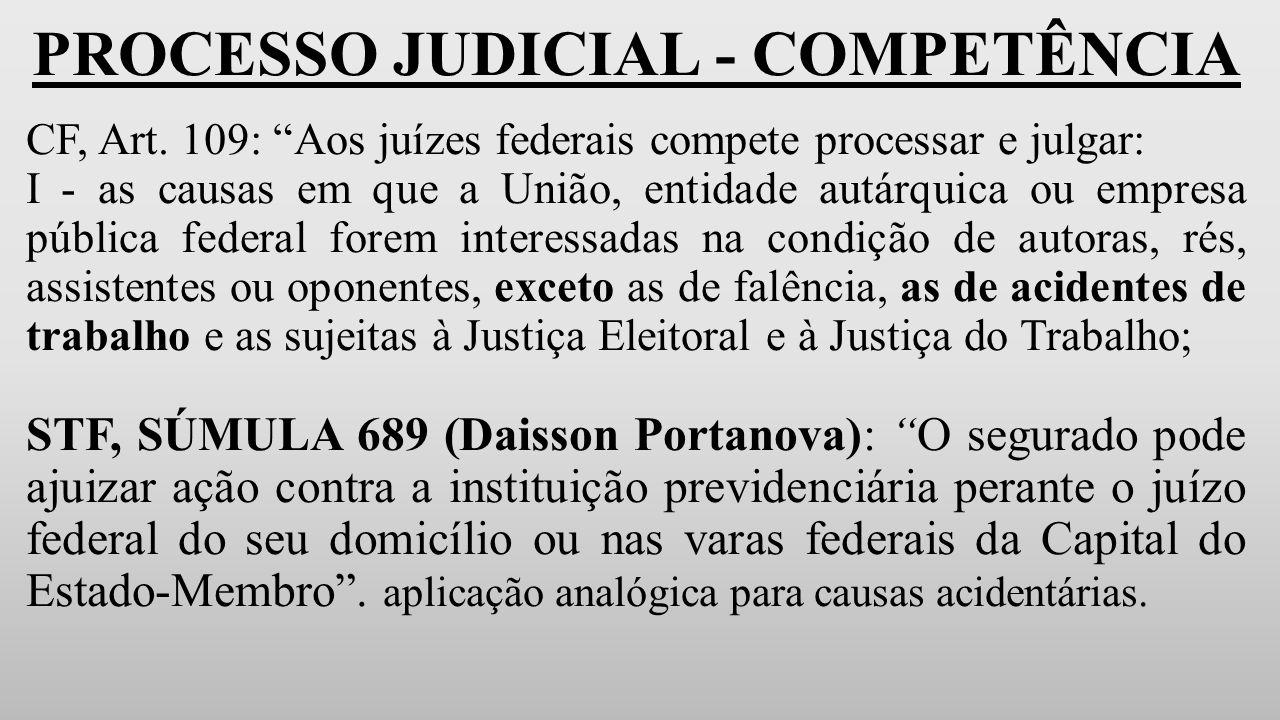 PROCESSO JUDICIAL - COMPETÊNCIA