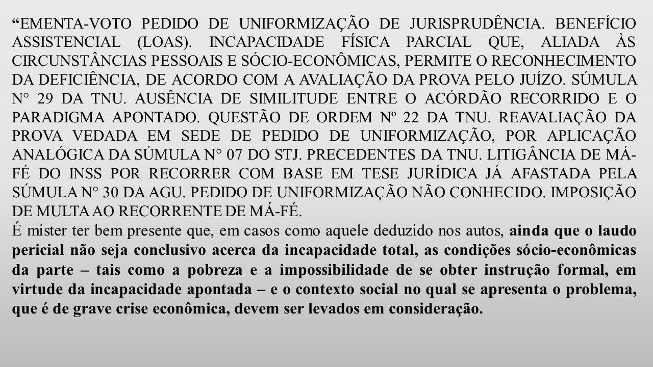 EMENTA-VOTO PEDIDO DE UNIFORMIZAÇÃO DE JURISPRUDÊNCIA