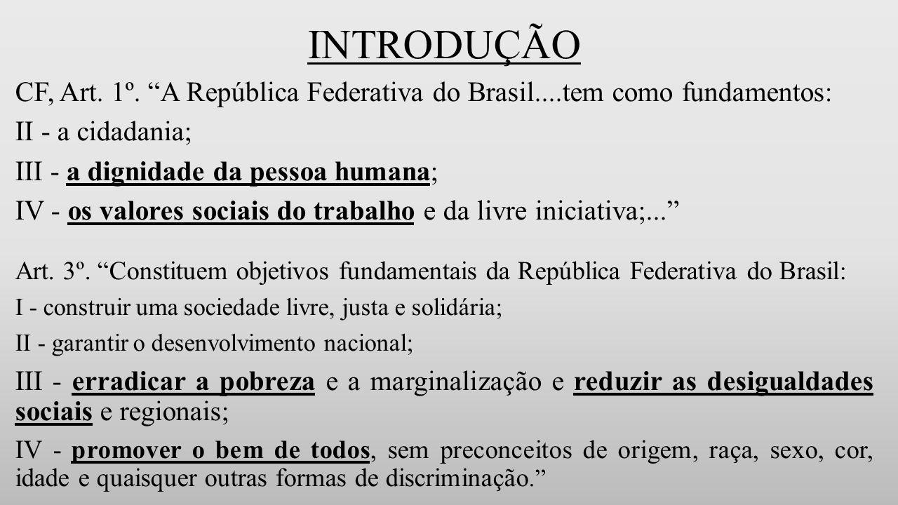 INTRODUÇÃO CF, Art. 1º. A República Federativa do Brasil....tem como fundamentos: II - a cidadania;