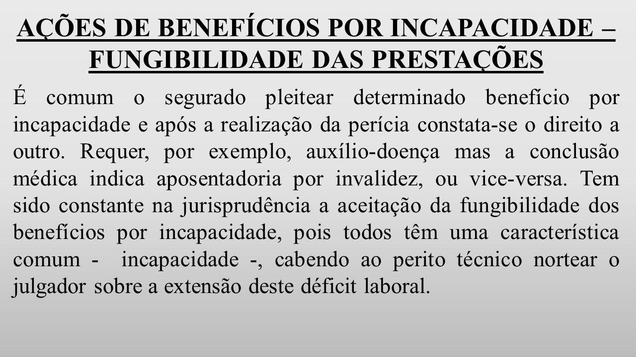 AÇÕES DE BENEFÍCIOS POR INCAPACIDADE – FUNGIBILIDADE DAS PRESTAÇÕES