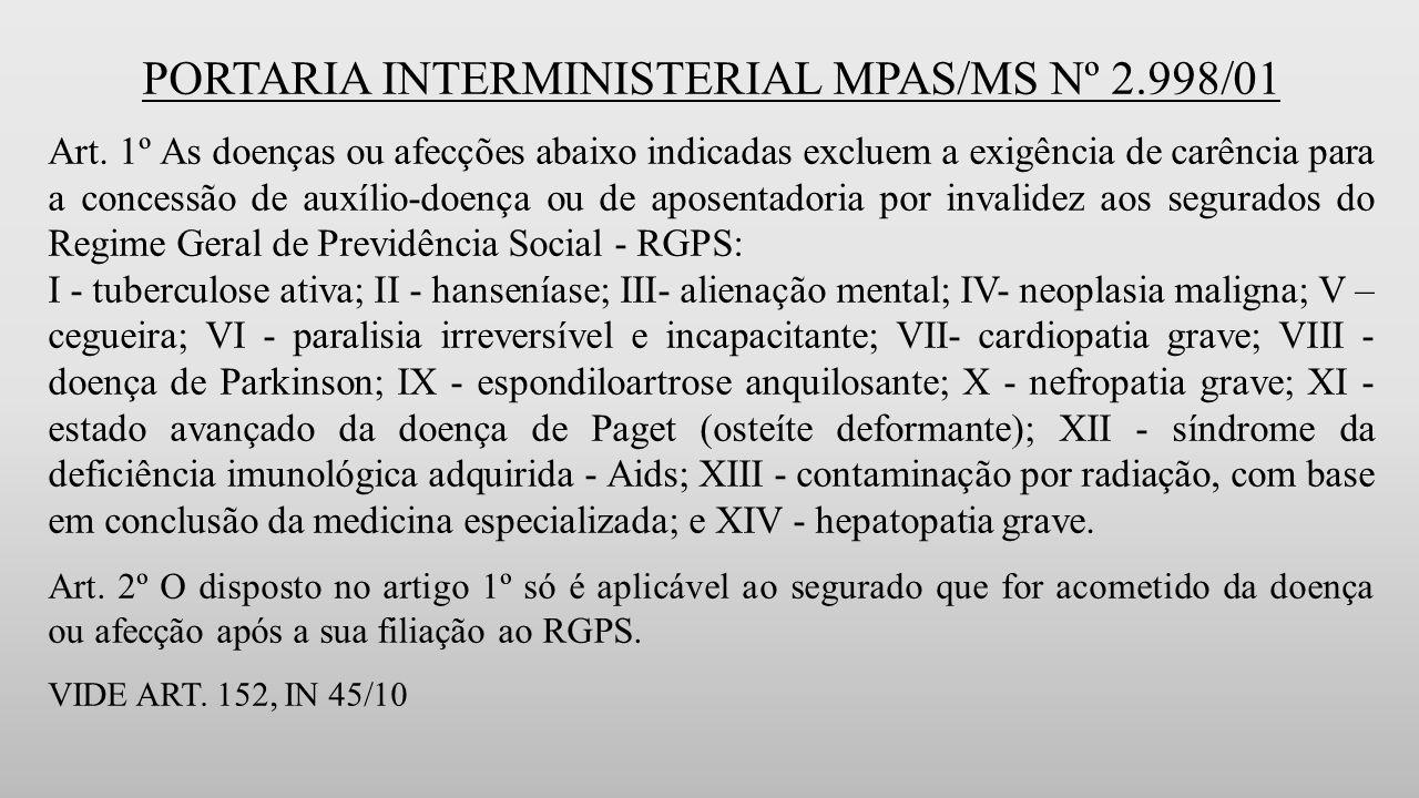 PORTARIA INTERMINISTERIAL MPAS/MS Nº 2.998/01