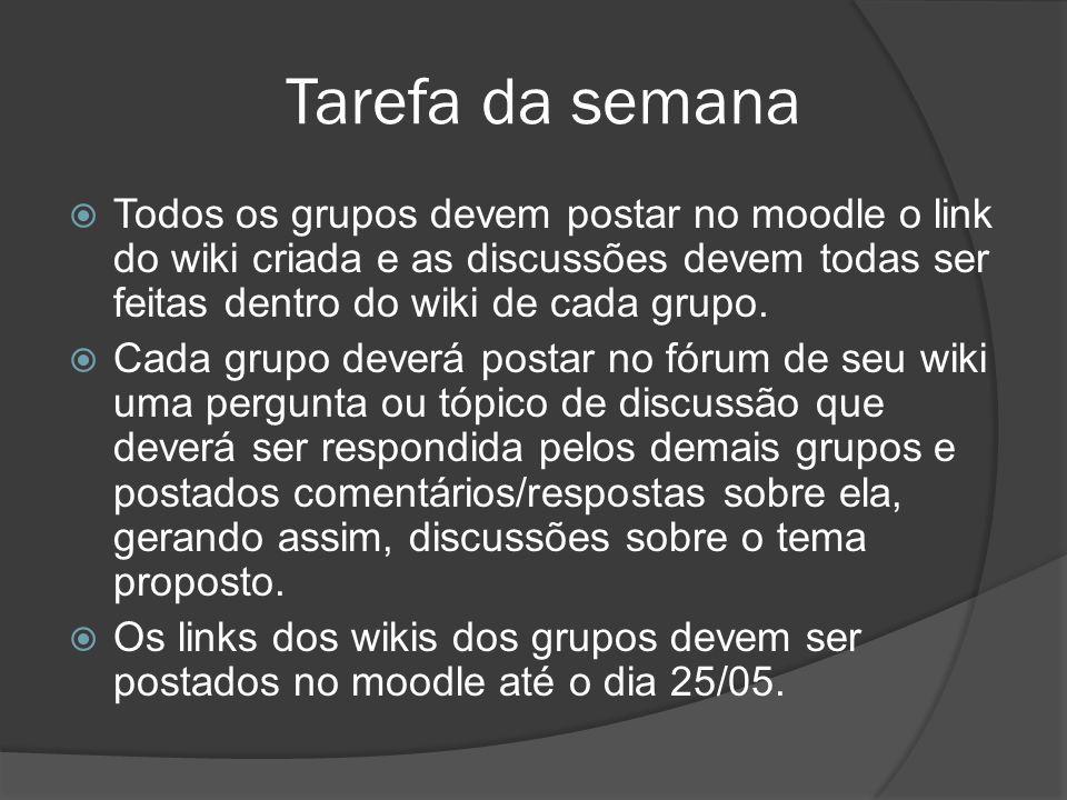 Tarefa da semanaTodos os grupos devem postar no moodle o link do wiki criada e as discussões devem todas ser feitas dentro do wiki de cada grupo.