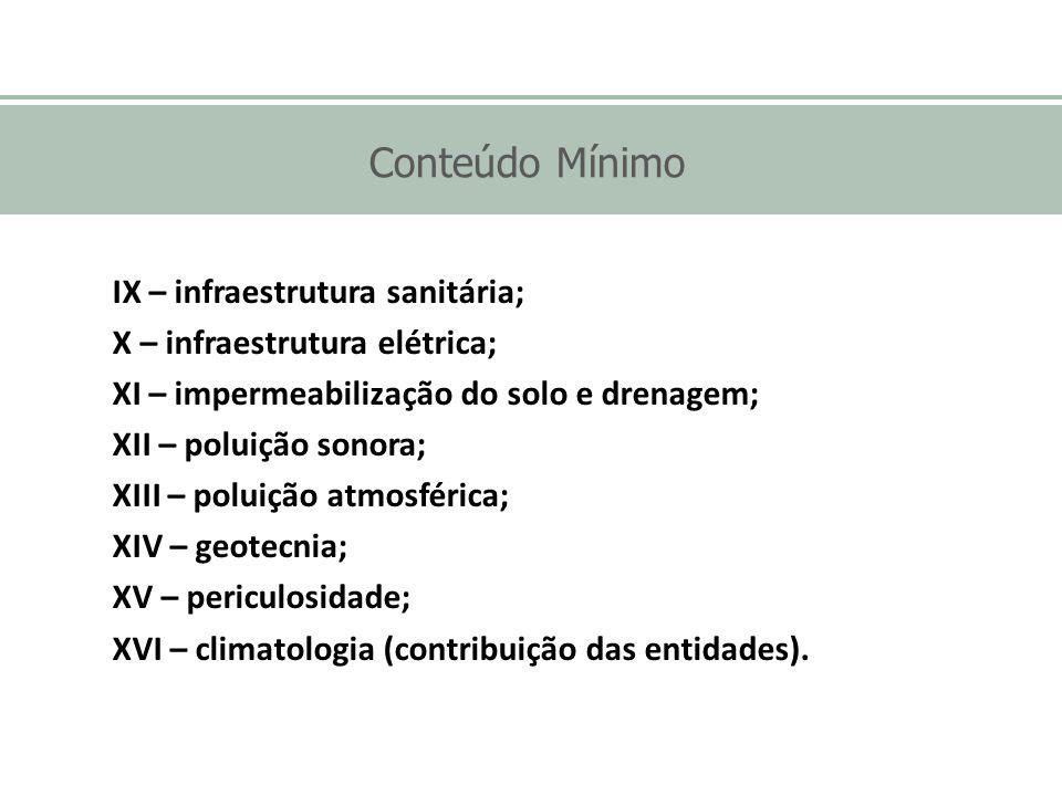 Conteúdo Mínimo IX – infraestrutura sanitária;