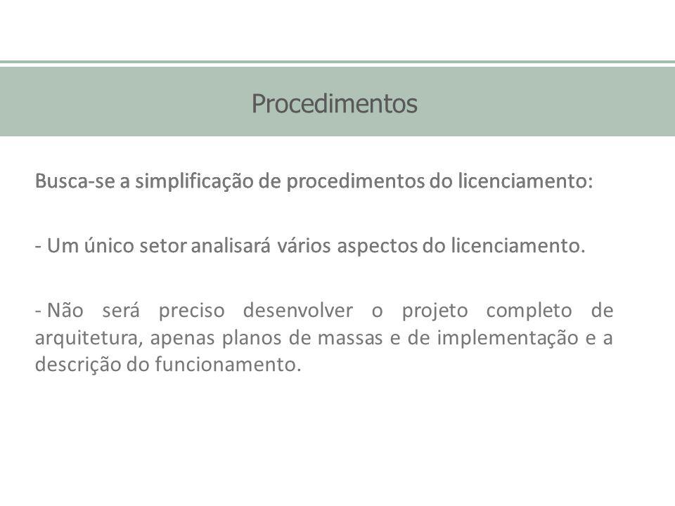 Procedimentos Busca-se a simplificação de procedimentos do licenciamento: Um único setor analisará vários aspectos do licenciamento.