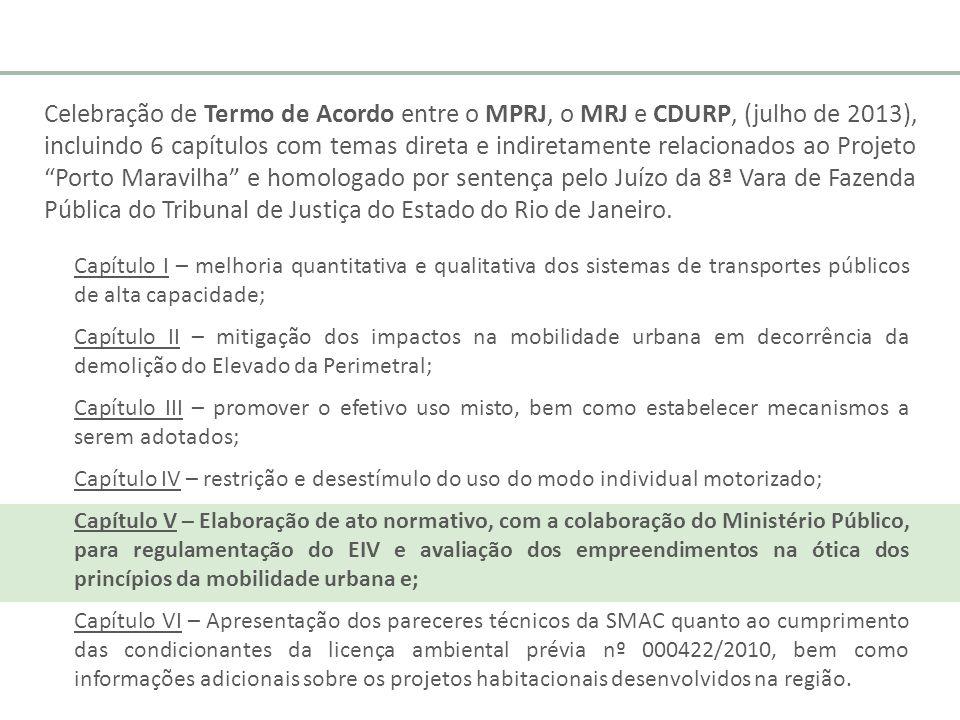 Celebração de Termo de Acordo entre o MPRJ, o MRJ e CDURP, (julho de 2013), incluindo 6 capítulos com temas direta e indiretamente relacionados ao Projeto Porto Maravilha e homologado por sentença pelo Juízo da 8ª Vara de Fazenda Pública do Tribunal de Justiça do Estado do Rio de Janeiro.