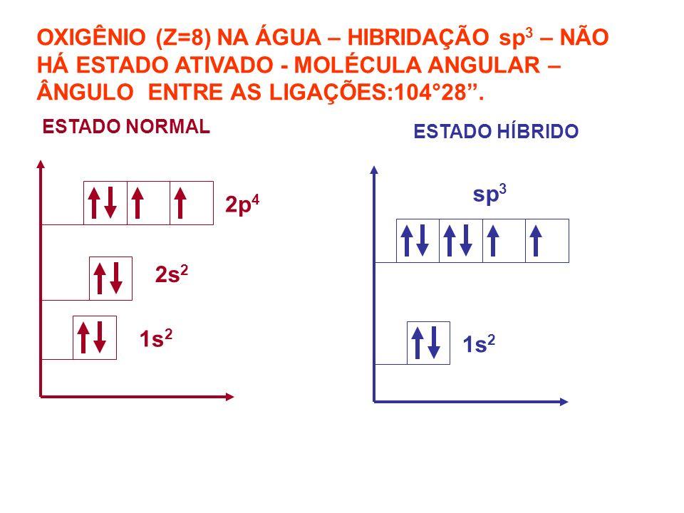OXIGÊNIO (Z=8) NA ÁGUA – HIBRIDAÇÃO sp3 – NÃO HÁ ESTADO ATIVADO - MOLÉCULA ANGULAR – ÂNGULO ENTRE AS LIGAÇÕES:104°28 .