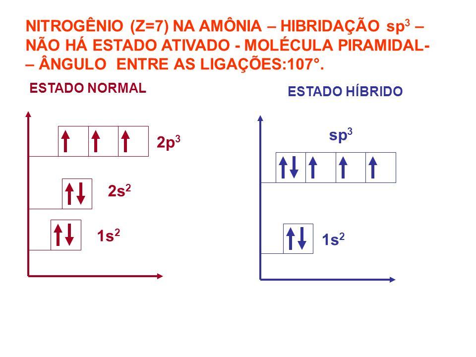 NITROGÊNIO (Z=7) NA AMÔNIA – HIBRIDAÇÃO sp3 – NÃO HÁ ESTADO ATIVADO - MOLÉCULA PIRAMIDAL- – ÂNGULO ENTRE AS LIGAÇÕES:107°.