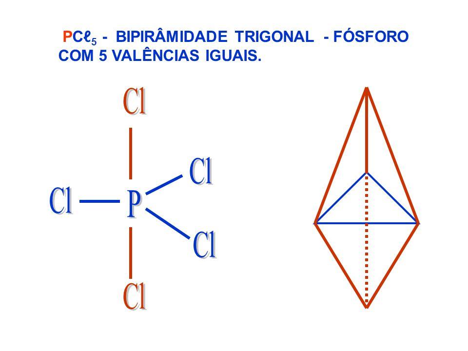 PCℓ5 - BIPIRÂMIDADE TRIGONAL - FÓSFORO COM 5 VALÊNCIAS IGUAIS.