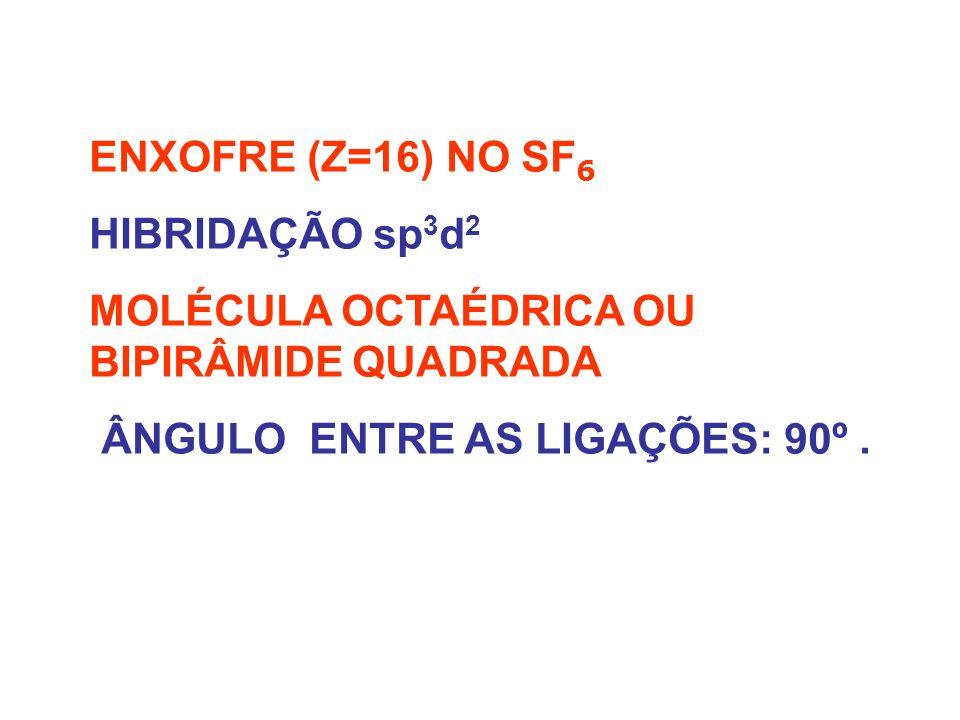 ENXOFRE (Z=16) NO SF6 HIBRIDAÇÃO sp3d2. MOLÉCULA OCTAÉDRICA OU BIPIRÂMIDE QUADRADA.