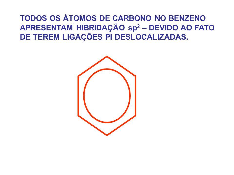 TODOS OS ÁTOMOS DE CARBONO NO BENZENO APRESENTAM HIBRIDAÇÃO sp2 – DEVIDO AO FATO DE TEREM LIGAÇÕES PI DESLOCALIZADAS.