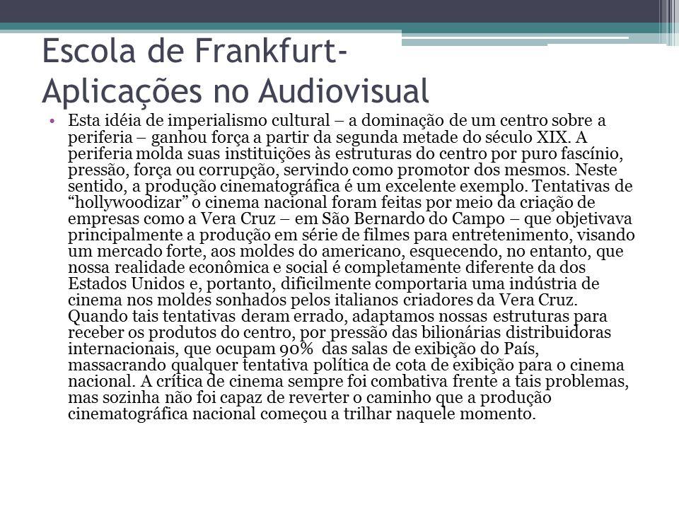 Escola de Frankfurt- Aplicações no Audiovisual
