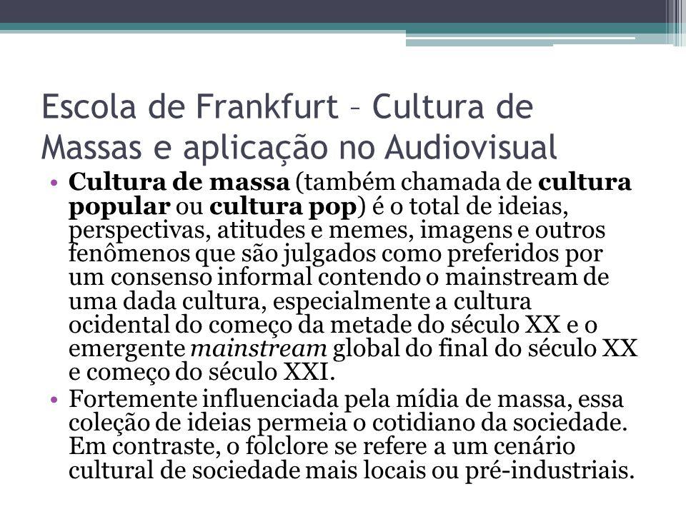 Escola de Frankfurt – Cultura de Massas e aplicação no Audiovisual
