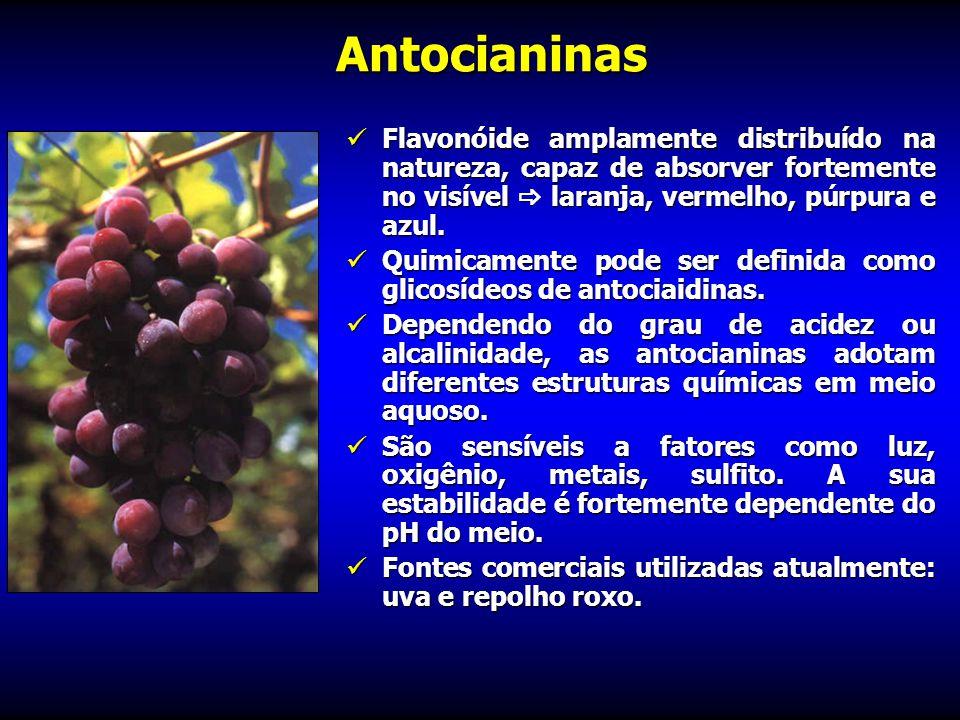 Antocianinas Flavonóide amplamente distribuído na natureza, capaz de absorver fortemente no visível  laranja, vermelho, púrpura e azul.