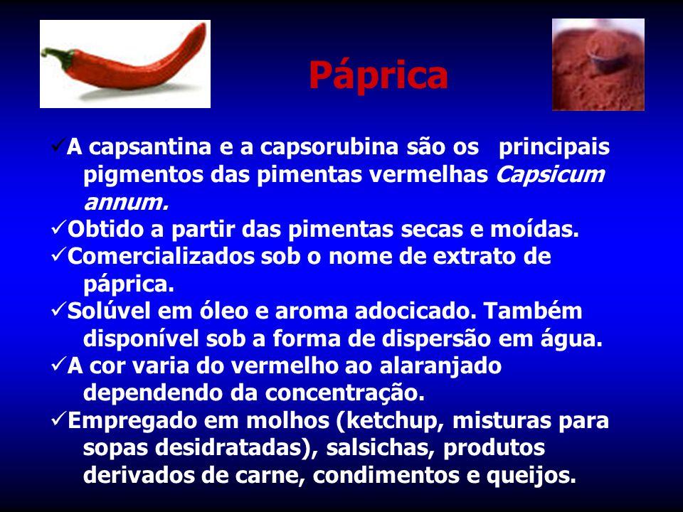 Páprica A capsantina e a capsorubina são os principais