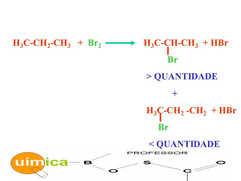 H3C-CH2-CH3 + Br2 H3C-CH-CH3 + HBr