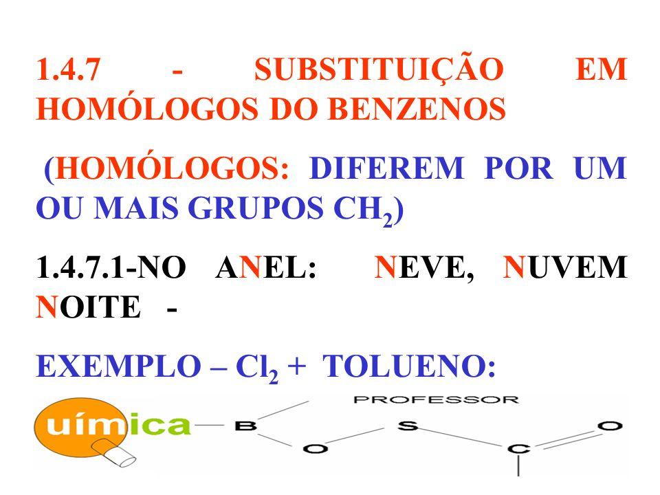 1.4.7 - SUBSTITUIÇÃO EM HOMÓLOGOS DO BENZENOS