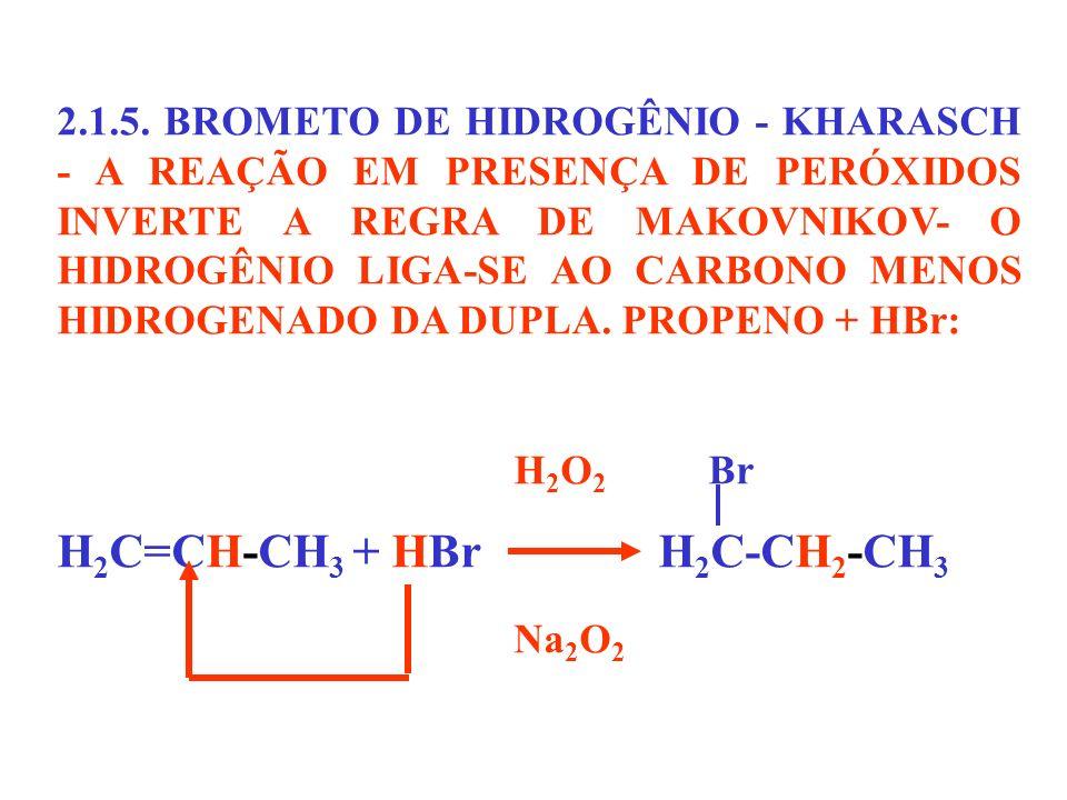 H2C=CH-CH3 + HBr H2C-CH2-CH3