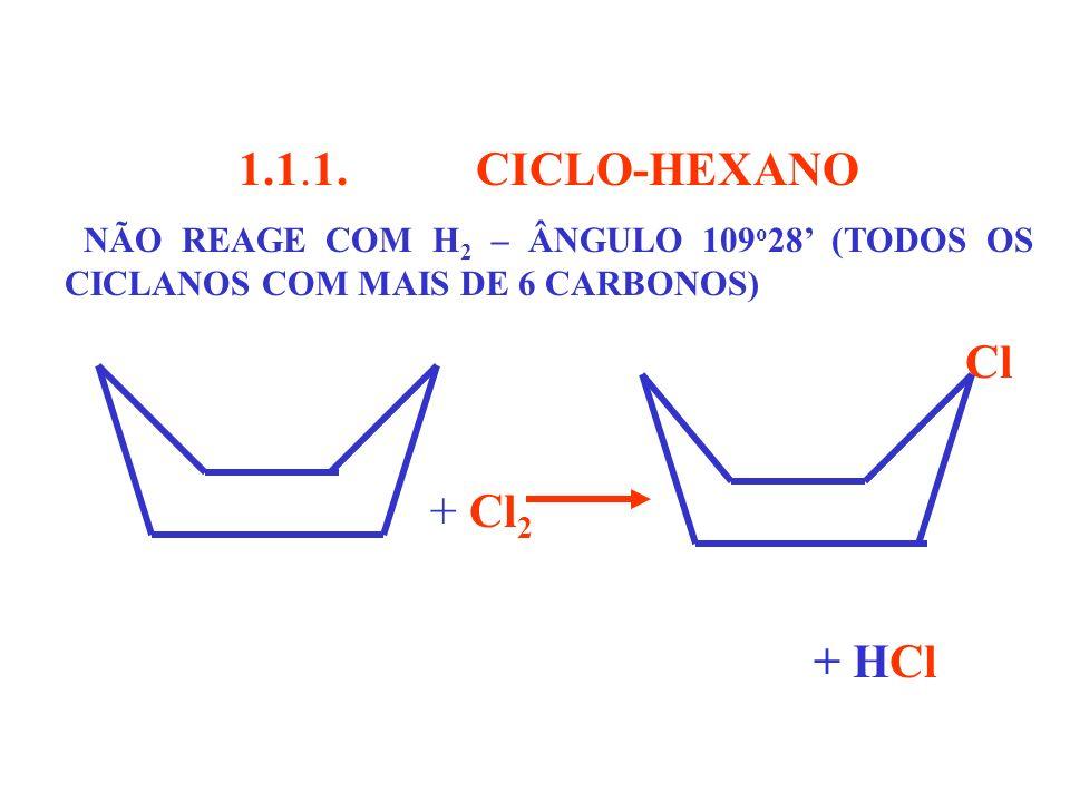 1.1.1. CICLO-HEXANO. NÃO REAGE COM H2 – ÂNGULO 109o28' (TODOS OS CICLANOS COM MAIS DE 6 CARBONOS)