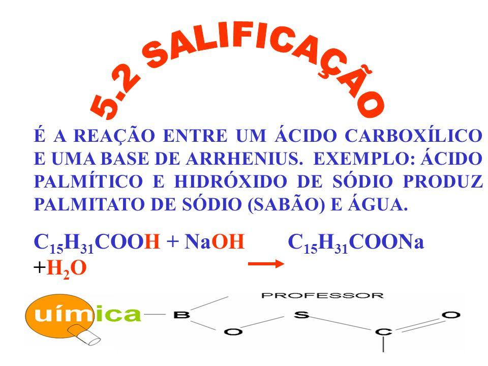 5.2 SALIFICAÇÃO C15H31COOH + NaOH C15H31COONa +H2O