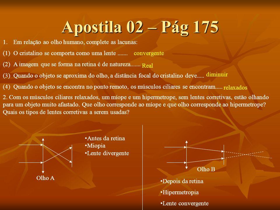 Apostila 02 – Pág 175 Em relação ao olho humano, complete as lacunas: