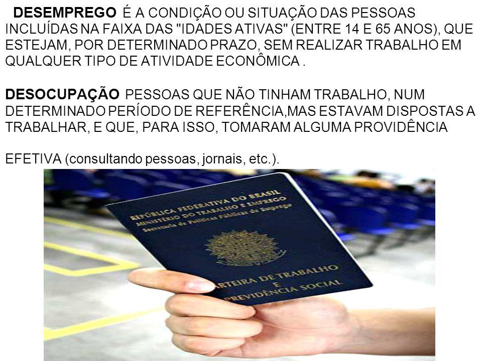 DESEMPREGO É A CONDIÇÃO OU SITUAÇÃO DAS PESSOAS INCLUÍDAS NA FAIXA DAS IDADES ATIVAS (ENTRE 14 E 65 ANOS), QUE ESTEJAM, POR DETERMINADO PRAZO, SEM REALIZAR TRABALHO EM QUALQUER TIPO DE ATIVIDADE ECONÔMICA .