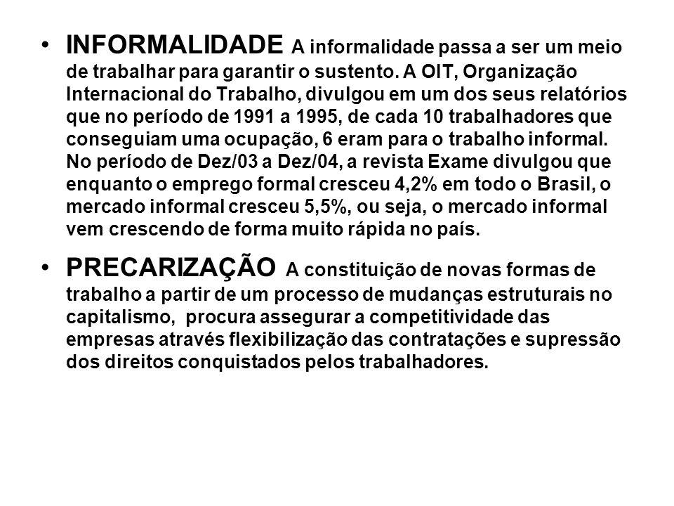 INFORMALIDADE A informalidade passa a ser um meio de trabalhar para garantir o sustento. A OIT, Organização Internacional do Trabalho, divulgou em um dos seus relatórios que no período de 1991 a 1995, de cada 10 trabalhadores que conseguiam uma ocupação, 6 eram para o trabalho informal. No período de Dez/03 a Dez/04, a revista Exame divulgou que enquanto o emprego formal cresceu 4,2% em todo o Brasil, o mercado informal cresceu 5,5%, ou seja, o mercado informal vem crescendo de forma muito rápida no país.