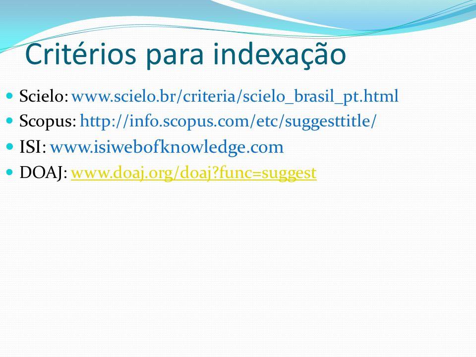 Critérios para indexação