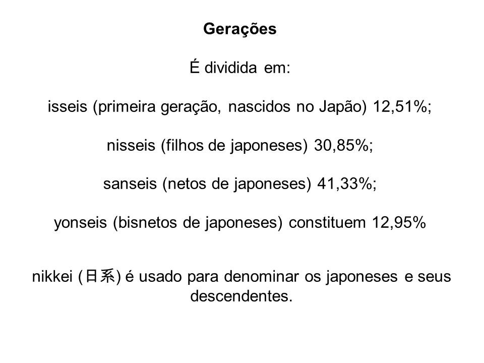 isseis (primeira geração, nascidos no Japão) 12,51%;