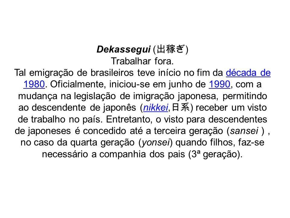 Dekassegui (出稼ぎ)Trabalhar fora.
