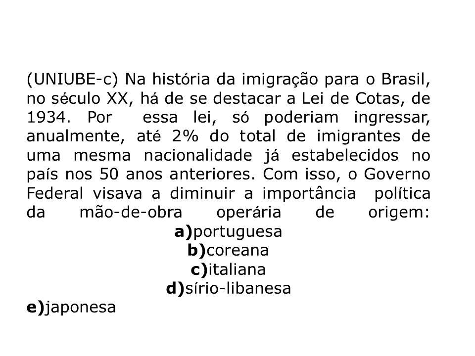 (UNIUBE-c) Na história da imigração para o Brasil, no século XX, há de se destacar a Lei de Cotas, de 1934.