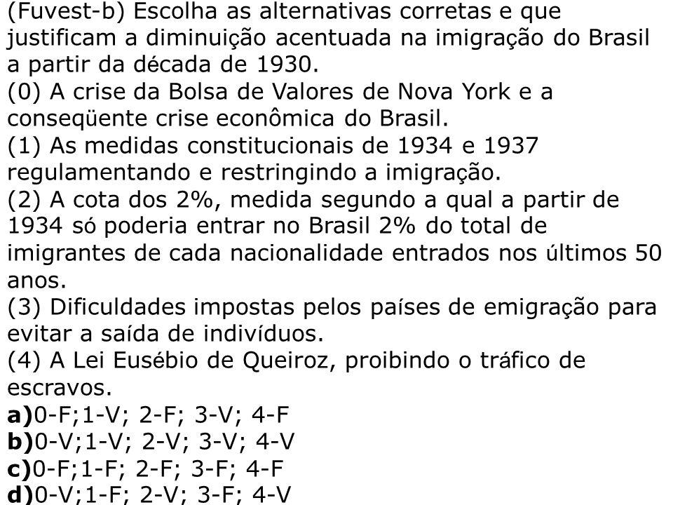 (Fuvest-b) Escolha as alternativas corretas e que justificam a diminuição acentuada na imigração do Brasil a partir da década de 1930.